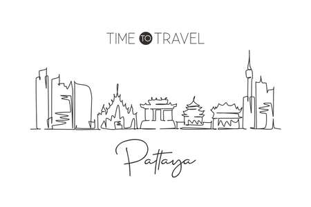 One single line drawing Pattaya city skyline, Thailand. World town landscape home wall decor poster print art. Best place holiday destination. Trendy continuous line draw design vector illustration