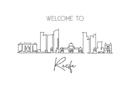 One single line drawing of Recife city skyline, Brazil. World historical town landscape postcard. Best place holiday destination. Editable stroke trendy continuous line draw design vector illustration