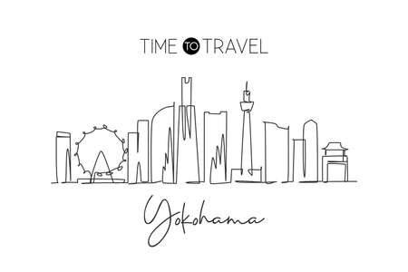 One single line drawing of Yokohama city skyline, Japan. Historical town landscape. Best holiday destination home decor wall poster print art. Trendy continuous line draw design vector illustration Stock Illustratie