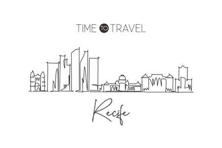 One continuous line drawing of Recife city skyline, Brazil. Beautiful landmark home decor poster print art. World landscape tourism travel vacation. Stylish single line draw design vector illustration Vettoriali