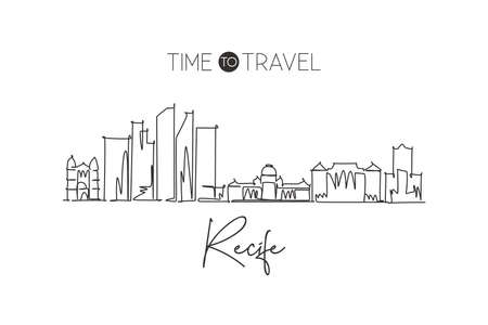 One continuous line drawing of Recife city skyline, Brazil. Beautiful landmark home decor poster print art. World landscape tourism travel vacation. Stylish single line draw design vector illustration