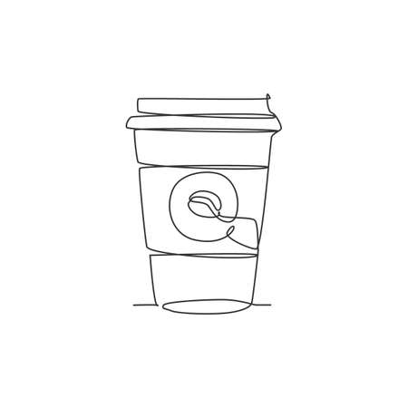 One single line drawing of hot fresh paper cup of coffee logo vector graphic illustration. Coffee shop cafe menu and restaurant badge concept. Modern continuous line draw design street drink logotype