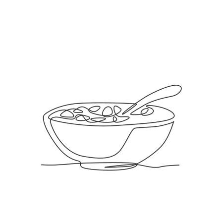 Single continuous line drawing of stylized bowl of cereal breakfast with fresh milk. Healthy whole wheat food concept. Modern one line draw design natural food vector illustration graphic