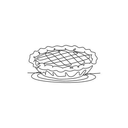 Single continuous line drawing of stylized delicious apple pie for cake logo art label. Pastry shop concept. Modern one line draw design vector graphic illustration cake food service