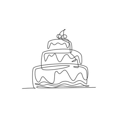 One continuous line drawing of fresh delicious stacked birthday cake with strawberry fruit topping. Pastry confectionery concept. Modern single line draw design graphic vector illustration