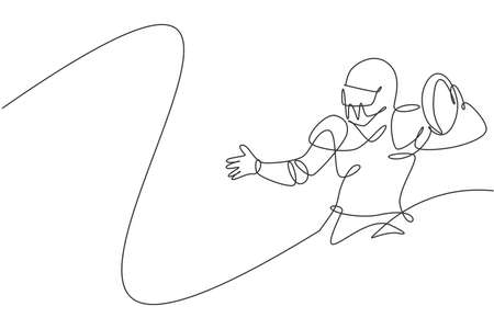 Single continuous line drawing of young american football player stance to pass the ball to his teammates for competition media. Sport exercise concept. Trendy one line draw design vector illustration