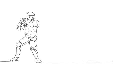 One continuous line drawing of young happy american football player hold and ready to pass the ball for competition poster. Sport teamwork concept. Dynamic single line draw design vector illustration