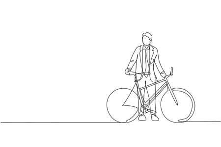 One single line drawing of young happy professional startup employee man ride bicycle to the coworking space vector illustration. Healthy commuter lifestyle concept. Modern continuous line draw design