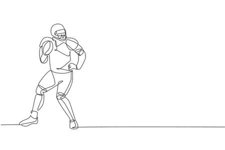 Single continuous line drawing of young agile man american football player stand stance to pass the ball for competition media. Sport exercise concept. Trendy one line draw design vector illustration