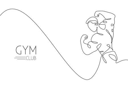 One single line drawing of young energetic model man bodybuilder posed vector illustration. Healthy workout fitness center concept. Modern continuous line draw design for bodybuilding club logo icon