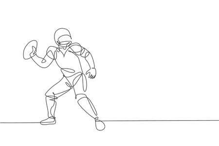 One single line drawing of energetic american football player stance to throw the ball for national league promotion. Sport competition concept. Modern continuous line draw design vector illustration