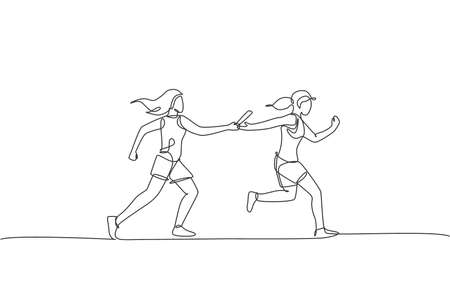 One continuous line drawing young sporty runner women pass baton stick at run race event. Healthy lifestyle and fun jogging sport concept. Dynamic single line draw design vector graphic illustration