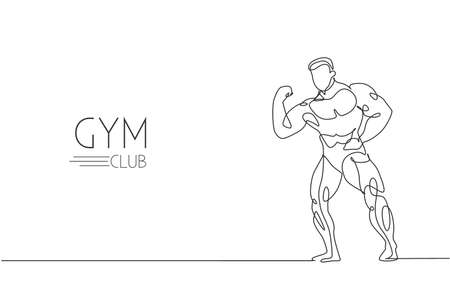 One continuous line drawing young strong model man bodybuilder pose. Fitness center gym logo concept. Dynamic single line draw design graphic vector illustration for bodybuilding competition contest