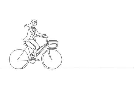 One single line drawing young happy startup employee woman ride bicycle to the coworking space graphic vector illustration. Healthy urban commuter lifestyle concept. Modern continuous line draw design