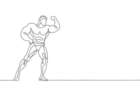 Single continuous line drawing of young muscular model man bodybuilder posing elegantly. Fitness gym logo. Trendy one line draw design vector illustration for budybuilding icon and symbol template
