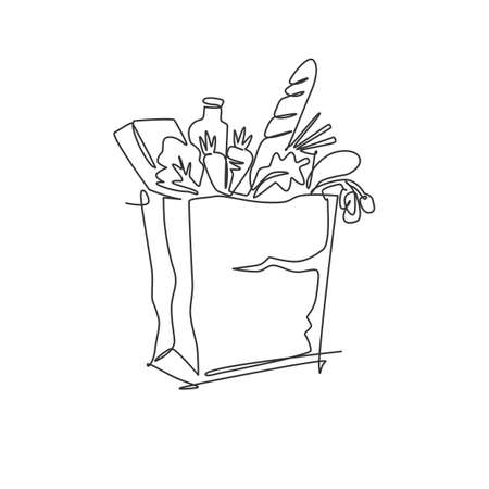 One continuous line drawing of fresh delicious vegetables, milk, baguette, and bread inside paper grocery bag. Staple food concept. Modern single line draw design vector graphic illustration