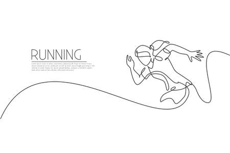 Single continuous line drawing of young agile woman runner sprint run at track. Individual sport, competition concept. Trendy one line draw design vector illustration for running tournament promotion Ilustração