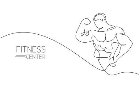One single line drawing of young energetic model man bodybuilder pose charmingly vector illustration. Healthy workout concept. Modern continuous line draw design for fitness center club logo and icon