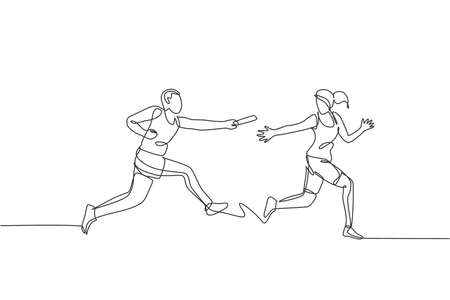 One continuous line drawing of young sporty runner man pass baton stick to his team mate. Healthy lifestyle and fun jogging sport concept. Dynamic single line draw design graphic vector illustration