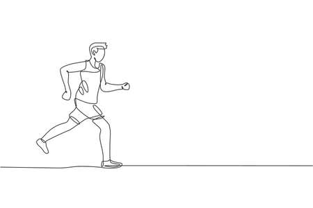 Single continuous line drawing of young agile man runner run fun and relax. Individual sport with competition concept. Trendy one line draw design vector illustration for running tournament promotion