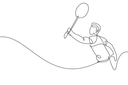 Single continuous line drawing of young agile badminton player hit shuttlecock. Competitive sport concept. Trendy one line draw design vector illustration for badminton tournament publication media Ilustração