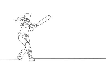 Single continuous line drawing young agile woman cricket player successfully hit the ball vector graphic illustration. Sport exercise concept. Trendy one line draw design for cricket promotion media
