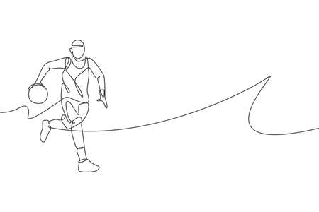 One single line drawing of young energetic basketball player running vector illustration. Sports competition concept. Modern continuous line draw design for basketball tournament poster and banner Illusztráció