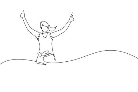 Single continuous line drawing of young agile woman runner reach finish line. Individual sport and competition concept. Trendy one line draw design vector illustration for running tournament promotion