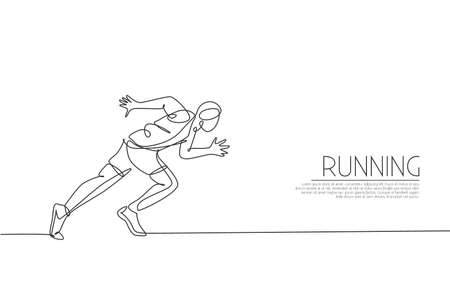 Single continuous line drawing of young agile man runner focus to sprint run. Individual sport, competition concept. Trendy one line draw design vector illustration for running tournament promotion