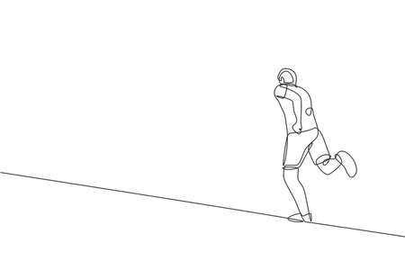 One continuous line drawing of young sporty runner man relax running at countryside. Healthy lifestyle and fun jogging sport concept. Dynamic single line draw design vector illustration graphic Illusztráció