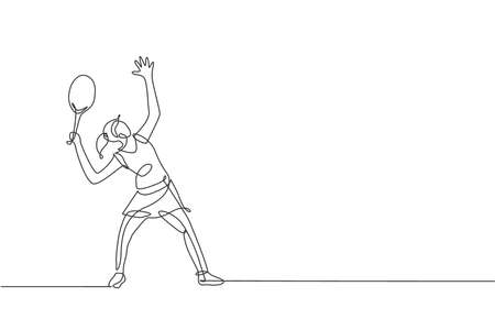 Single continuous line drawing of young agile tennis player ready to service hit the ball. Sport exercise concept. Trendy one line draw design vector illustration for tennis tournament promotion media