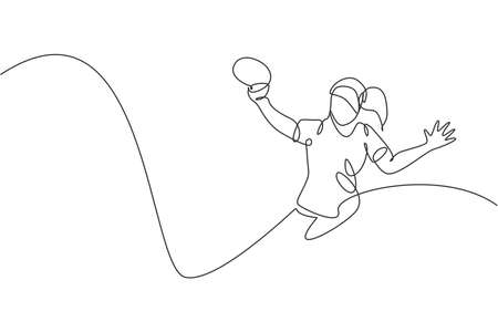 One single line drawing of young energetic woman table tennis player defense from rival vector illustration. Sport training concept. Modern continuous line draw design for tournament banner