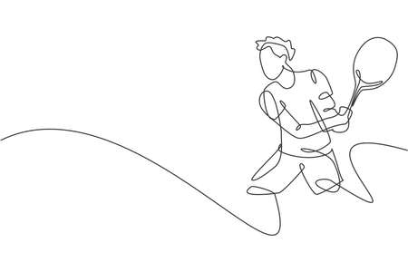 Single continuous line drawing of young agile tennis player hit the ball from opponent. Sport exercise concept. Trendy one line draw design vector illustration for tennis tournament promotion media Illustration