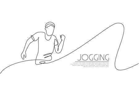 One continuous line drawing of young man athlete runner practicing run. Individual sport, competitive concept. Dynamic single line draw design vector illustration for running competition posteractive,
