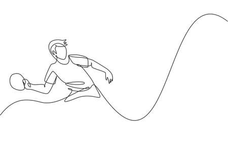One continuous line drawing of young sporty man table tennis player practice hitting the ball. Competitive sport concept. Single line draw design vector illustration for championship poster