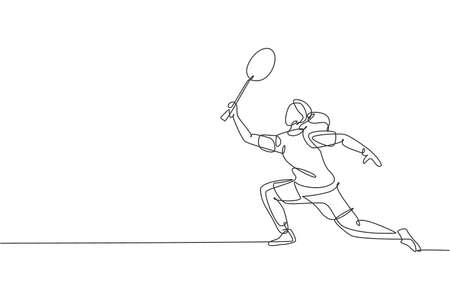 One single line drawing of young energetic badminton player jumping and smash shuttlecock vector illustration. Healthy sport concept. Modern continuous line draw design for badminton tournament poster