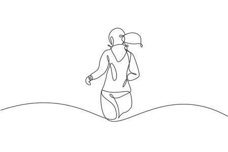 Single continuous line drawing of young happy health runner woman running at run track. Fun sport jogging and healthy lifestyle concept. Trendy one line draw design vector graphic illustration