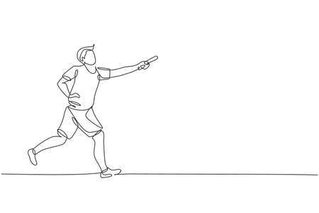 One single line drawing young happy runner man try to pass baton stick to his teammate graphic vector illustration. Healthy lifestyle and competitive sport concept. Modern continuous line draw design
