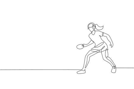 Single continuous line drawing of young agile woman table tennis player hold the ball. Sport exercise concept. Trendy one line draw design vector illustration for  tournament promotion media