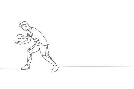 Single continuous line drawing of young agile man table tennis player do ball service. Sport exercise concept. Trendy one line draw design vector illustration for  tournament promotion media Ilustração