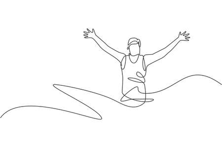 One continuous line drawing of young man athlete runner reach finish line. Individual sport, competitive concept. Dynamic single line draw design vector illustration for running competition poster