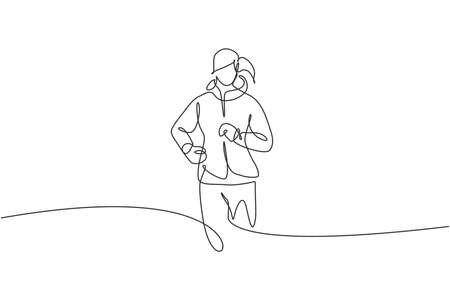One continuous line drawing of young sporty runner woman relax running at countryside. Healthy lifestyle and fun jogging sport concept. Dynamic single line draw design vector illustration graphic Illusztráció