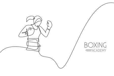 Single continuous line drawing young agile woman boxer ready to fight with rival. Fair combative sport concept. Trendy one line draw design vector graphic illustration for boxing game promotion media