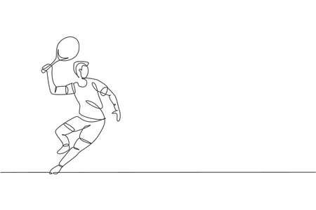 Single continuous line drawing of young agile man tennis player wait to hit opponent ball. Sport exercise concept. Trendy one line draw design vector illustration for tennis tournament promotion media