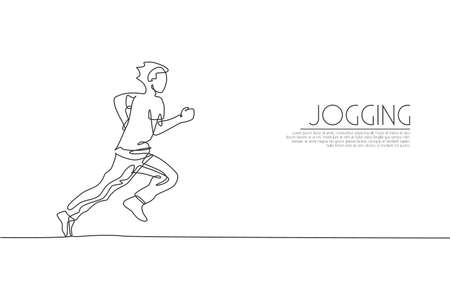 Single continuous line drawing of young agile man runner jogging run relax. Individual sport with competition concept. Trendy one line draw design vector illustration for running tournament promotion Ilustração