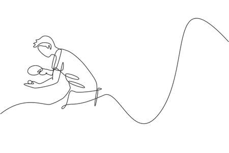 Single continuous line drawing of young agile man table tennis player focus to serve. Sport exercise concept. Trendy one line draw design vector illustration for  tournament promotion media Ilustração