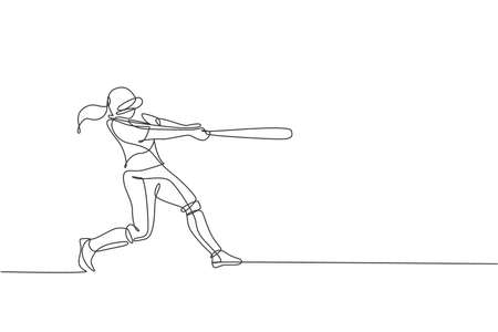 One continuous line drawing of young sporty woman baseball player practice to hit the ball. Competitive sport concept. Dynamic single line draw design vector graphic illustration for promotion poster Ilustração