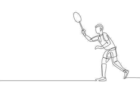 One continuous line drawing of young badminton player ready to take opponent serve. Sport exercise concept. Dynamic single line draw design vector illustration for tournament match promotion poster