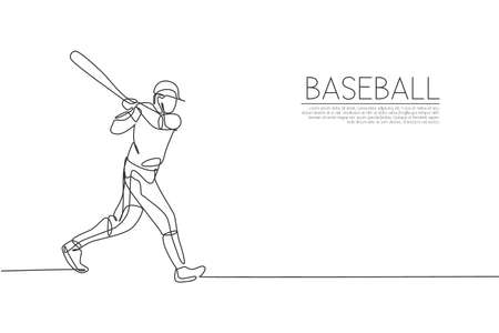 Single continuous line drawing of young agile man baseball player practice to hit the ball. Sport exercise concept. Trendy one line draw design vector graphic illustration for baseball promotion media Ilustração