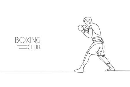 Single continuous line drawing young agile man boxer ready for fighting at match. Fair combative sport concept. Trendy one line draw design graphic vector illustration for boxing game promotion media